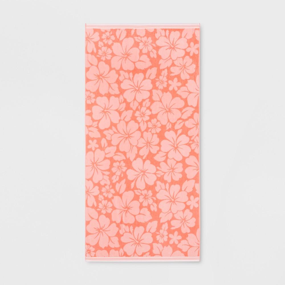 XL Hibiscus Beach Towel Coral (Pink) - Sun Squad
