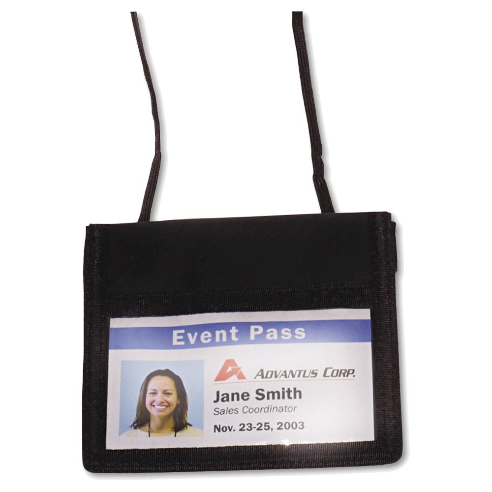 Advantus ID Badge Holder w/Convention Neck Pouch, Horizontal, 4 x 2 1/4, Black, 12/PK, Size: Small, Black/Clear