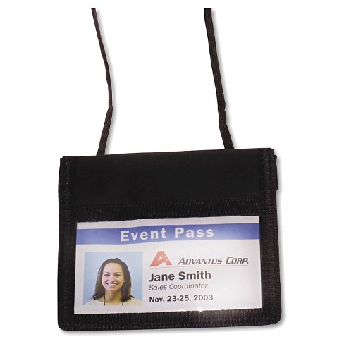 Advantus® ID Badge Holder w/Convention Neck Pouch, Horizontal, 4 x 2 1/4, Black, 12/PK - image 1 of 1