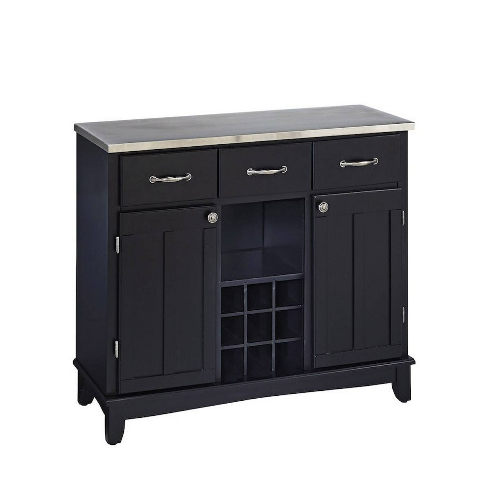 Sideboard Buffet Servers with Stainless Top Black - Home Styles