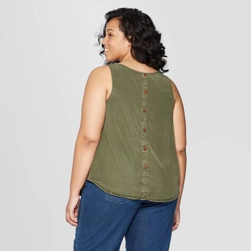 fb10c27122338 Women s Plus Size Sleeveless Crew Neck Button Back Tank Top - Universal  Thread™ Olive X   Target