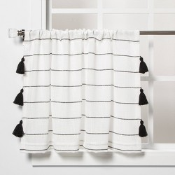 "42""x24"" Contrast Striped Light Filtering Curtain Tier with Tassel Black/White - Opalhouse™"