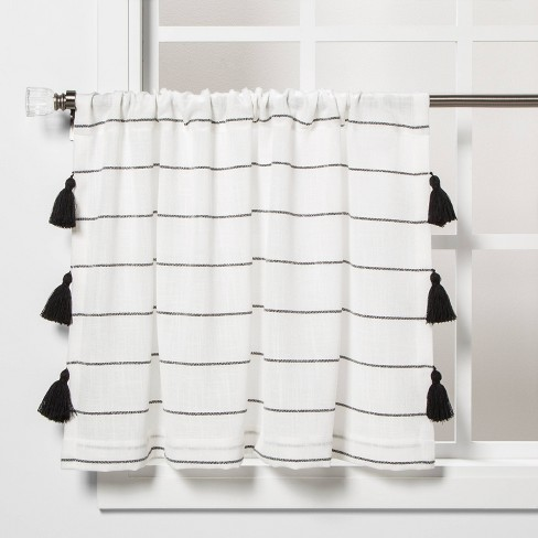 "24""x42"" Contrast Stripe Light Filtering Curtain Tier with Tassel Black/White - Opalhouse™ - image 1 of 4"
