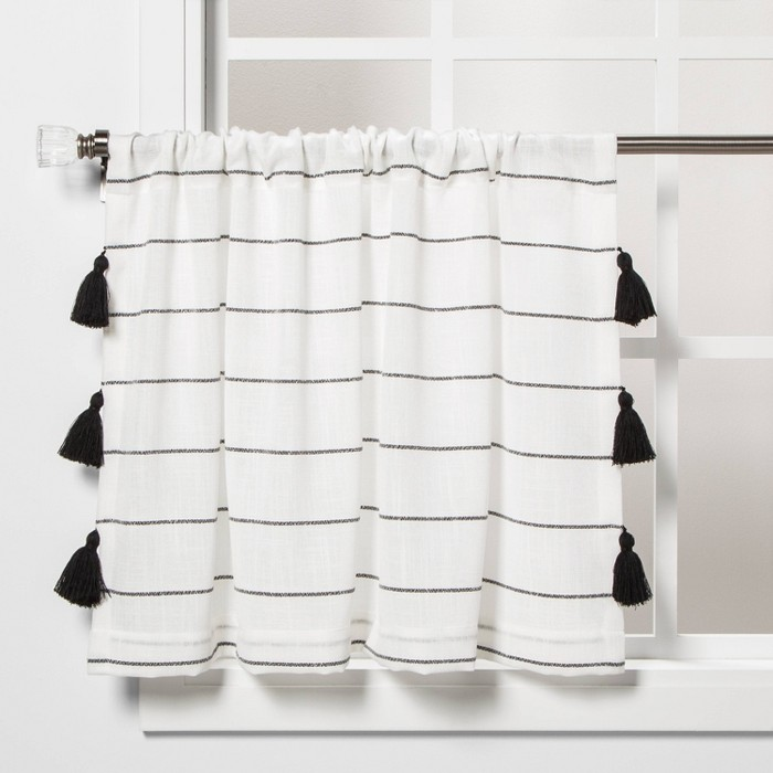 "24""x24"" Contrast Stripe Light Filtering Curtain Tier with Tassel Black/White - Opalhouse™ - image 1 of 5"