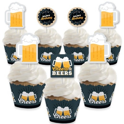 Big Dot of Happiness Cheers and Beers Happy Birthday - Cupcake Decoration - Birthday Party Cupcake Wrappers and Treat Picks Kit - Set of 24