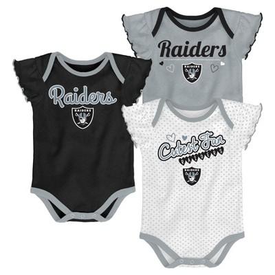 Oakland Raiders Girls' Newest Fan 3pk Bodysuit Set 3-6M