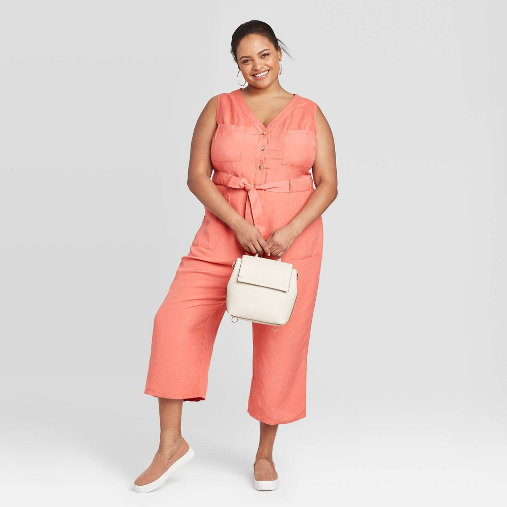 Women's Plus Size Sleeveless Linen Jumpsuit - A New Day Red 2X, Women's, Size: 2XL was $29.99 now $20.99 (30.0% off)