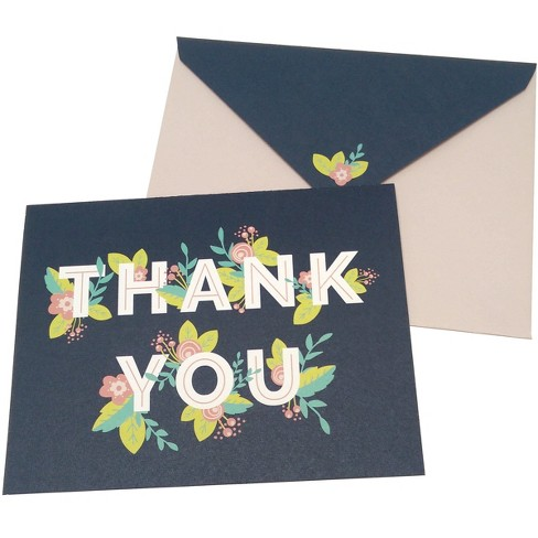 Green Inspired 10ct Hidden Flowers Thank You Cards - image 1 of 2
