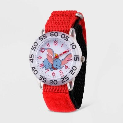 Girls' Disney Dumbo Clear Plastic Time Teacher Watch - Red