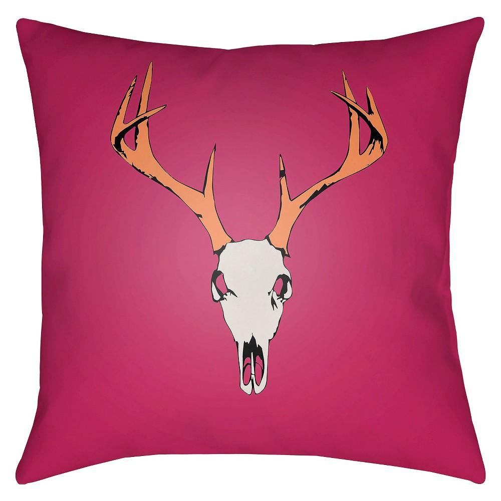 Hot Pink Buck Throw Pillow 18