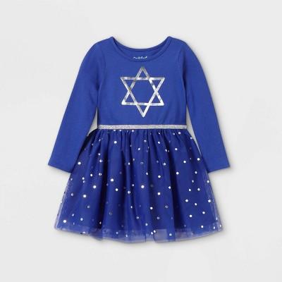 Toddler Girls' Star Of David Long Sleeve Tutu Dress - Cat & Jack™ Blue