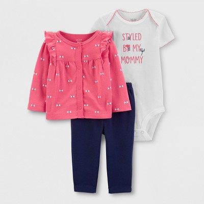 Baby Girls' 3pc Top and Bottom Set - Just One You® made by carter's Navy/Pink 9M