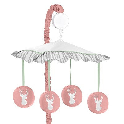 Sweet Jojo Designs Musical Crib Mobile - Coral & Mint Woodsy