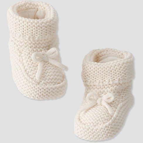 Baby Knit Sweater Bootie - little planet by carter's Cream 0-3M - image 1 of 2
