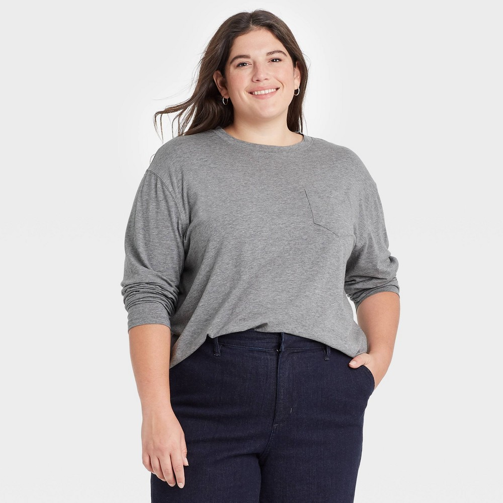 Women 39 S Plus Size Slim Fit Long Sleeve Round Neck Pocket T Shirt A New Day 8482 Heather Gray 3x