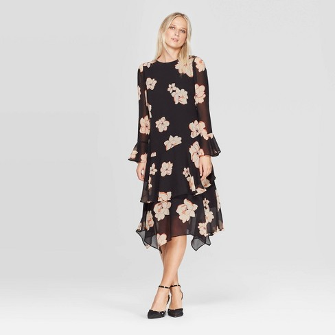 Women\'s Plus Size Floral Print Long Sleeve Boat Neck Tiered Ruffle Hem A  Line Midi Dress - Who What Wear™ Black M