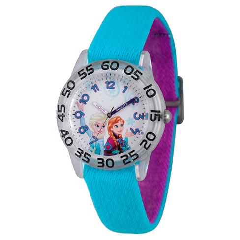 Girls' Disney Frozen Elsa and Anna Clear Plastic Time Teacher Watch - Blue - image 1 of 2