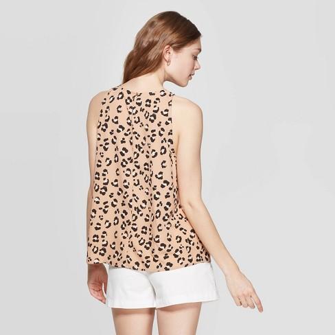 446e1ec161 Women s Leopard Print Sleeveless Crewneck Top - A New Day™ Brown ...