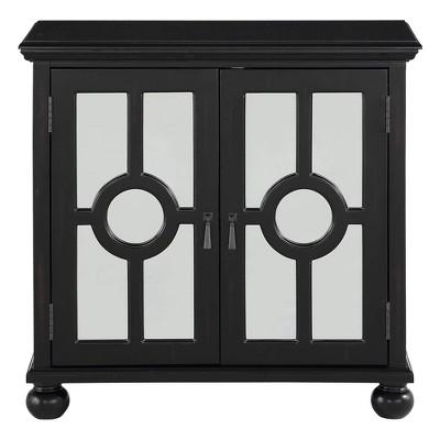 Lexicon Poppy 2 Door Wooden Accent Cabinet Storage Chest with Mirror Glass Inlays, Brass Pulls, and Storage Shelf Organizer, Black