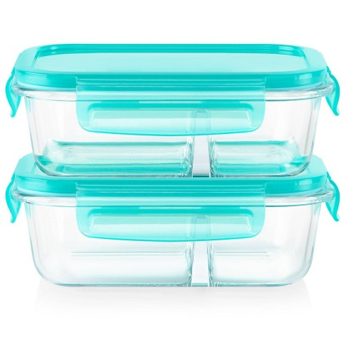 Pyrex Meal Box 4pc 2.1 Cup Rectangular Glass Food Storage Value Pack - Teal - image 1 of 4