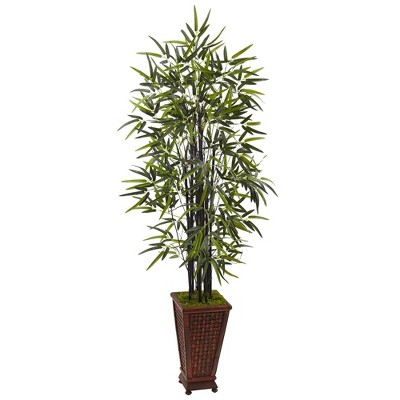 5.5ft Artificial Black Bamboo Tree in Decorative Planter - Nearly Natural