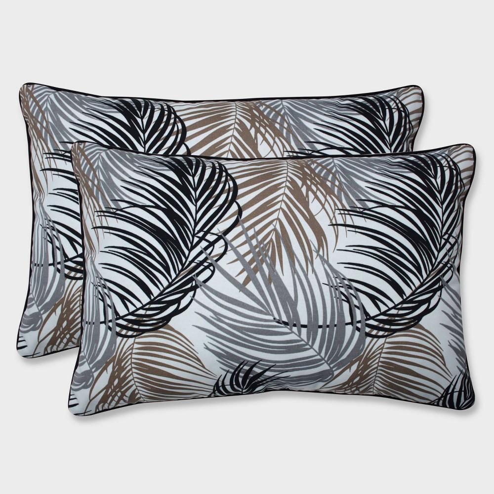 2pk Oversize Setra Stone Rectangular Throw Pillows Black - Pillow Perfect