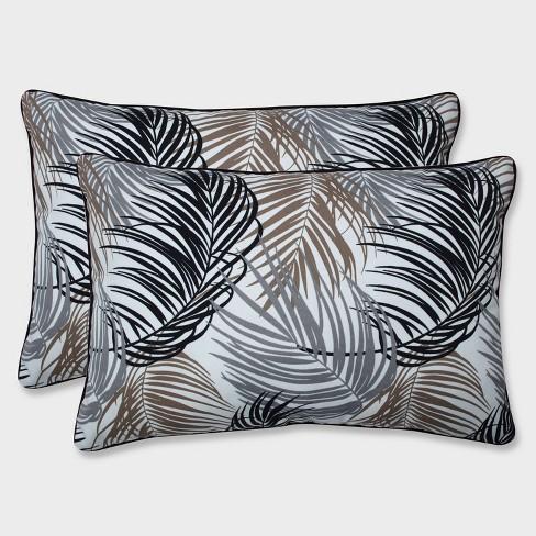 2pk Oversize Setra Stone Rectangular Throw Pillows Black - Pillow Perfect - image 1 of 2