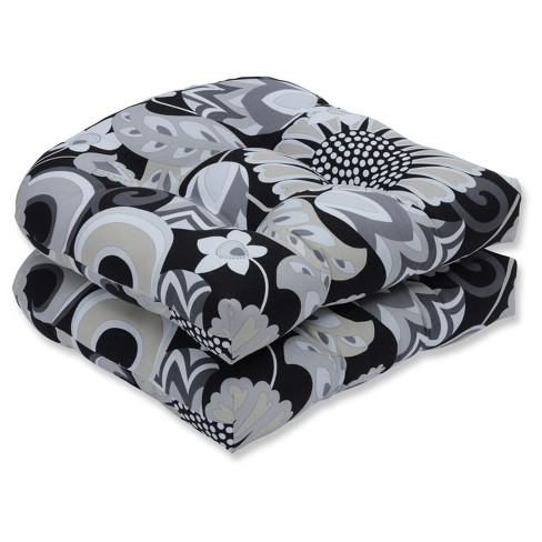 Outdoor Indoor Sophia Black Wicker Seat Cushion Set Of 2 Pillow Perfect Target