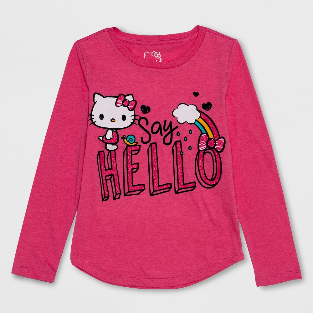 Girls' Hello Kitty Long Sleeve T-Shirt - Pink XS