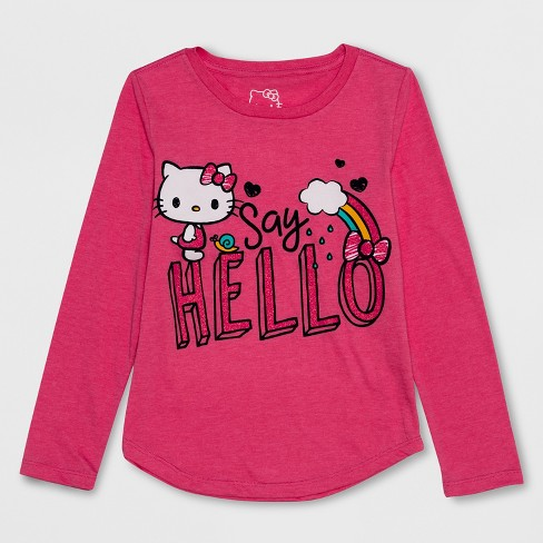 Girls  Hello Kitty Long Sleeve T-Shirt - Pink   Target 017d06f5100
