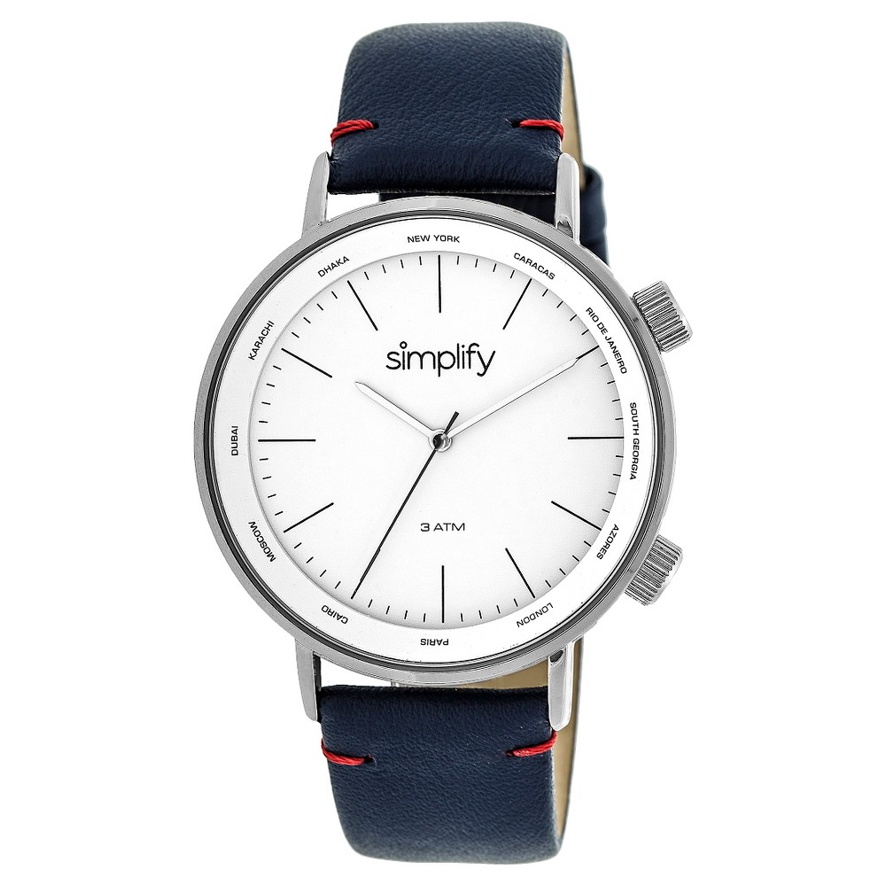 Simplify The 3300 Men's Leather-Band Watch - Silver/Navy