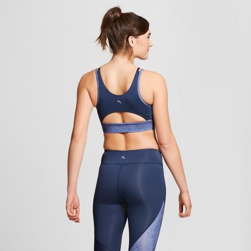 54f7cd3c818ba Women s High Neck Sports Bra With Back Cut Out - JoyLab™ Navy   Target