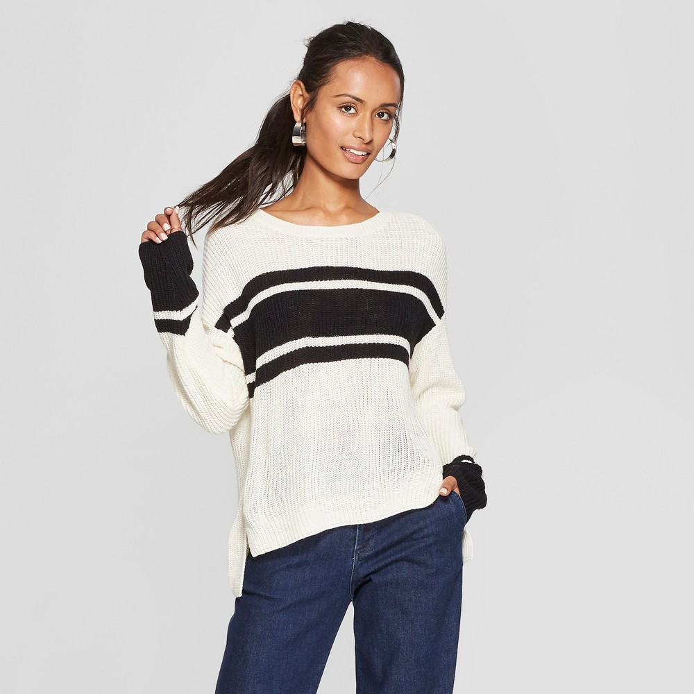 Women's Long Sleeve Colorblock Pullover Sweater - 3Hearts (Juniors') Ivory S, White