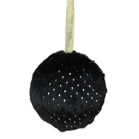 """Northlight 4"""" Black with Gold Dots Faux Fur Christmas Ball Ornament - image 1 of 1"""