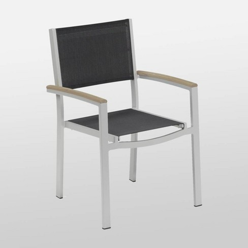 Travira 4pk Sling Armchair with Powder Coated Aluminum Frame and Vintage Teakwood Armcaps - Black - Oxford Garden - image 1 of 2