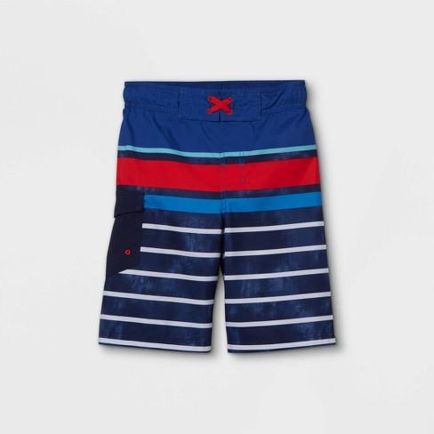 Boys' Striped Swim Trunks - Cat & Jack™ Blue/Red - image 1 of 2