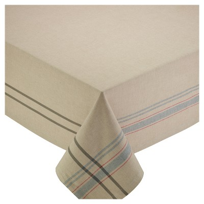 Design Imports 104 60  Natural French Stripe Tablecloth Beige