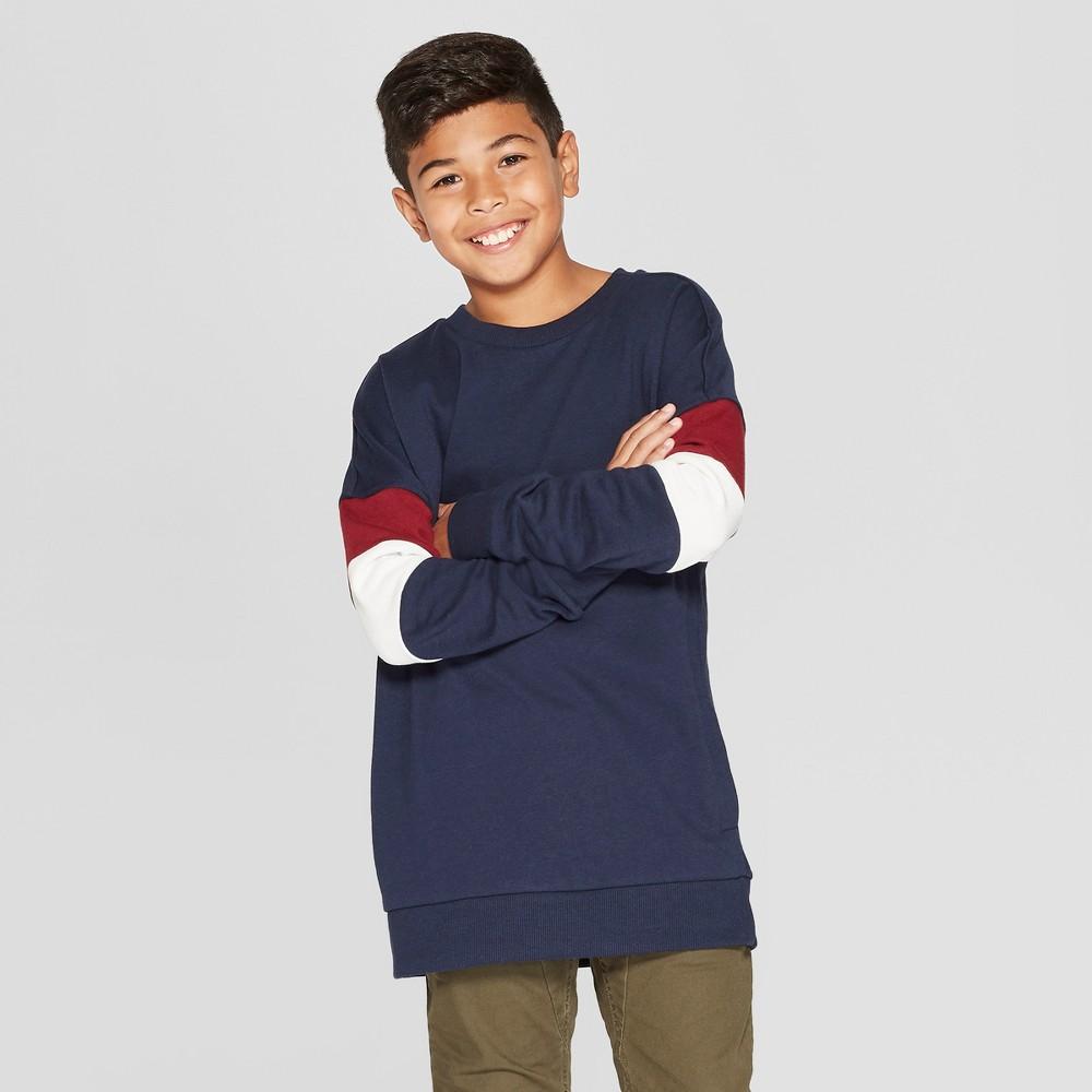 Boys' Long Sleeve Drop Shoulder Sweatshirt - art class Blue L