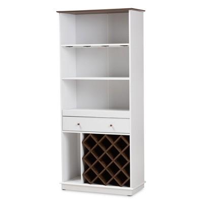 Serafino and Oak Finished Wood Wine Cabinet - Baxton Studio