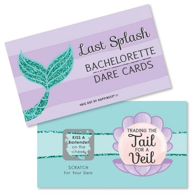 Big Dot of Happiness Trading The Tail for A Veil - Mermaid Bachelorette Party or Bridal Shower Game Scratch Off Dare Cards - 22 Count