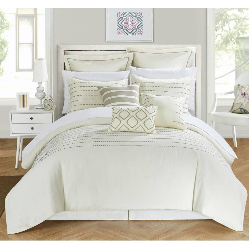 Chic Home Design King 9pc Karlston Bed In A Bag Comforter Set Beige