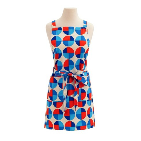 Red/Blue Circles Retro Print Cotton Butcher's Apron - ASD Living - image 1 of 1