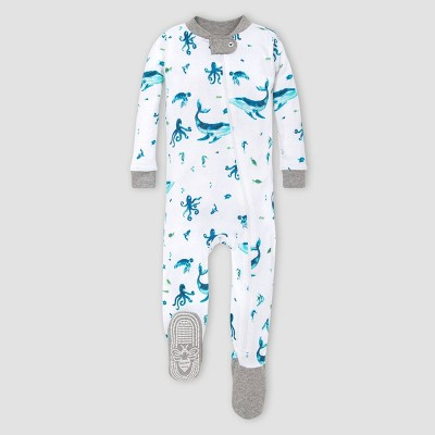 Burt's Bees Baby® Baby Boys' Whales Organic Cotton Footed Pajama - Gray 3-6M