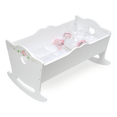 Badger Basket Doll Cradle with Bedding and Free Personalization Kit - White Rose