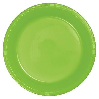 "Fresh Lime Green Plastic 7"" Dessert Plates - 20ct"