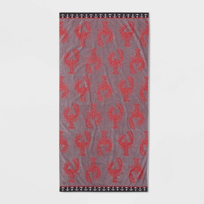 XL Lobster Beach Towel Gray/Red - Sun Squad™