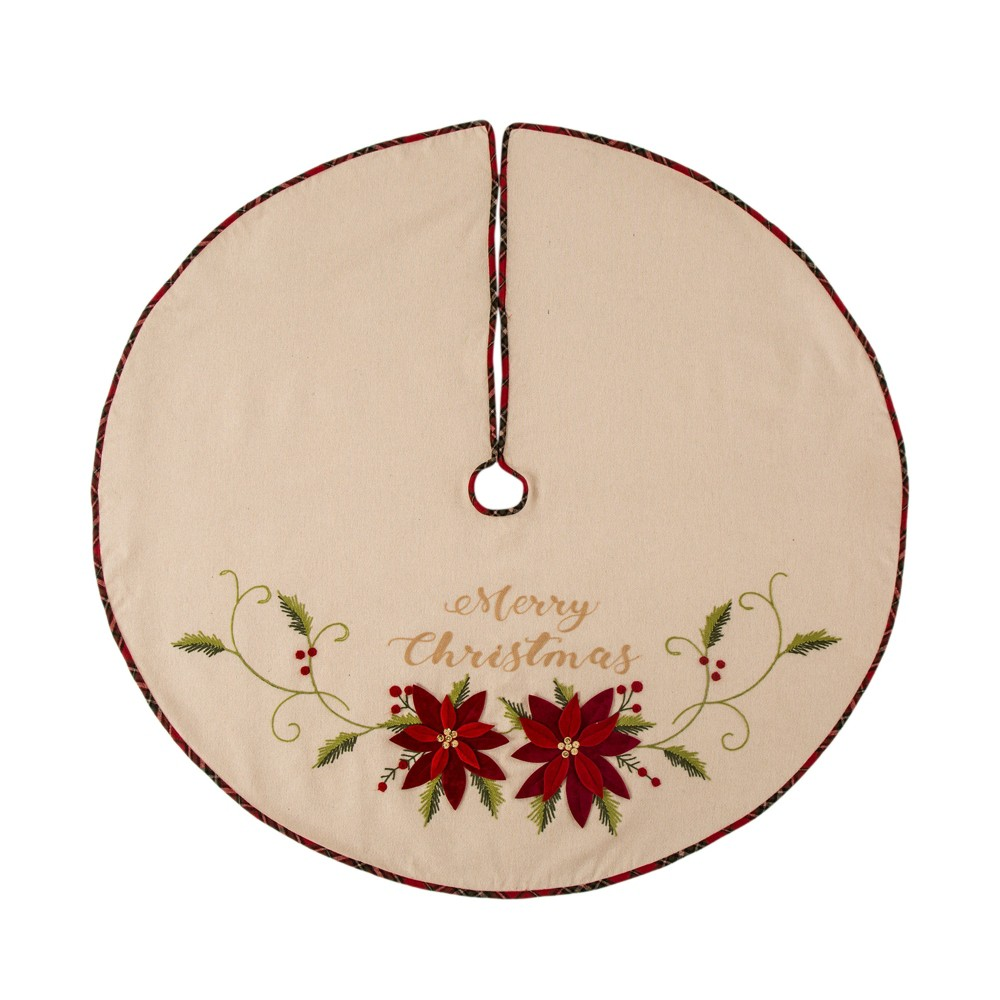 Image of Fabric Poinsettia Tree Skirt - Glitzhome