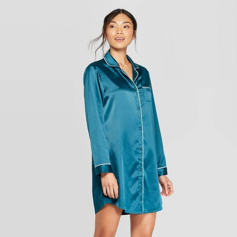 Women's Satin Notch Collar Nightgown - Stars Above™ Teal - image 1 of 2