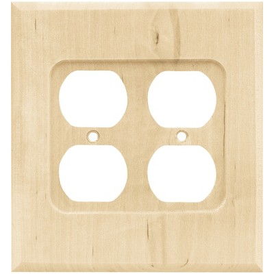 Franklin Brass Square Double Duplex Wall Plate Unfinished Wood Brown