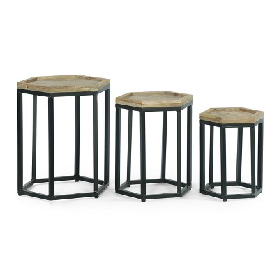 Set of 3 Morella Modern Industrial Handcrafted Mango Wood Nested Side Tables Natural/Black - Christopher Knight Home